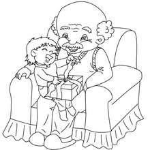 Dibujo para colorear : Ahijado y abuelo