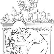 Dibujo para colorear : Cariño en familia