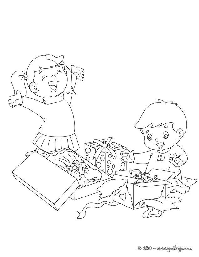 Dibujos para colorear niños felices en navidad - es.hellokids.com
