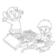 Dibujo para colorear : Niños felices en Navidad