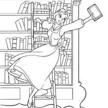 Dibujo para colorear : Bella en la biblioteca