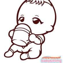 Dibujo para colorear : Bebe de babysitting mama comiendo