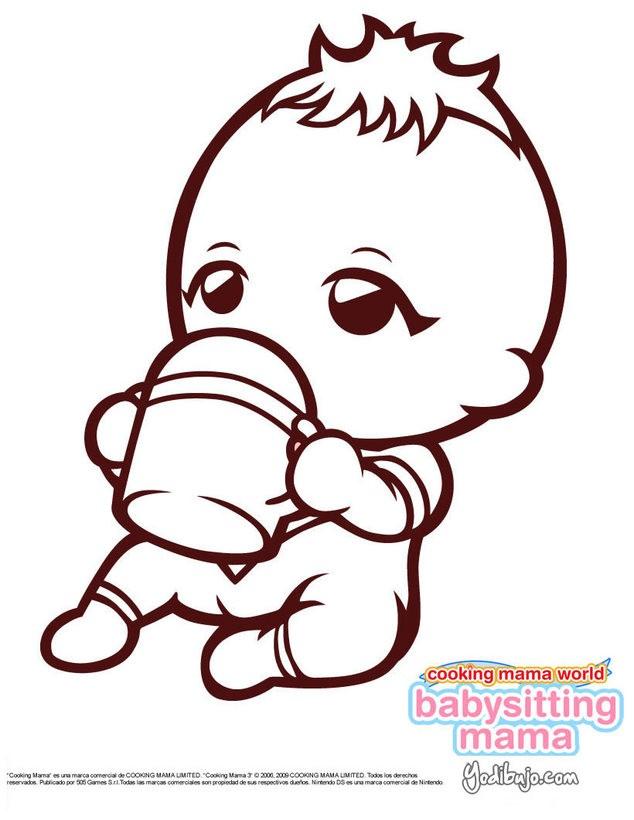 Dibujos Para Colorear Bebe De Babysitting Mama Chupandose El