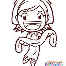 Dibujo para colorear : Cooking Mama con una bufanda