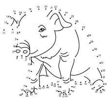 PUERCO unir puntos - Juegos divertidos - Juegos de UNIR PUNTOS - Juegos de puntos ANIMALES