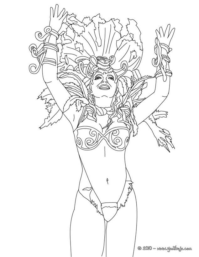 Dibujo para colorear : bailarina de samba carnaval de Rio