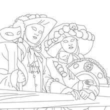 Dibujo para colorear escena carnaval de venecia - Dibujos para Colorear y Pintar - Dibujos para colorear FIESTAS - Dibujos para colorear CARNAVAL - Dibujos CARNAVAL VENECIA para colorear