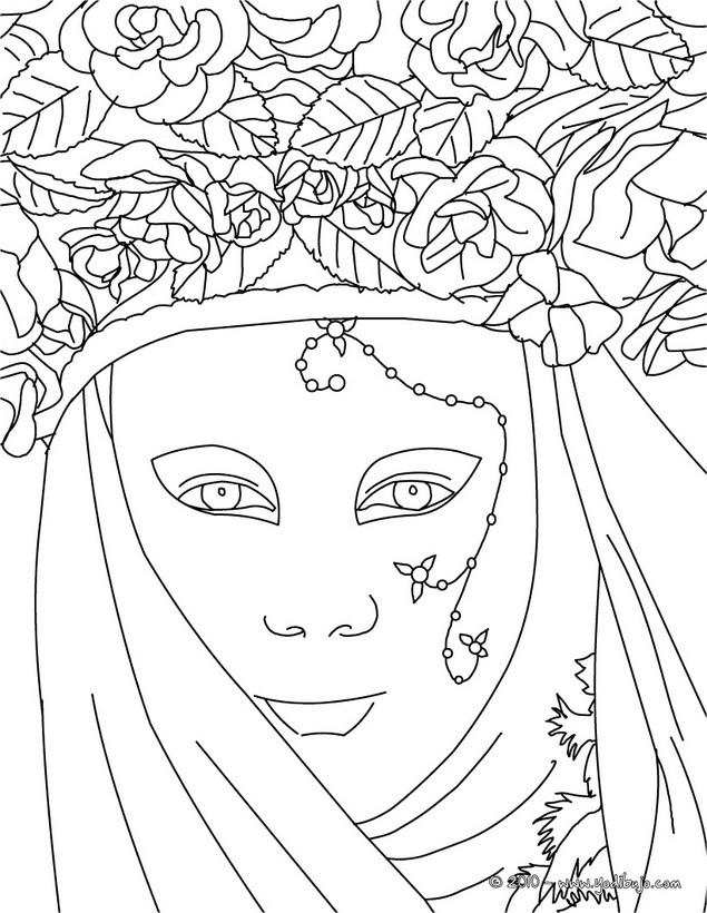 Dibujo Para Colorear   M  Scara Del Carnaval De Venecia