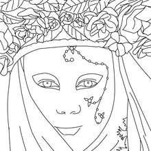 Dibujo para colorear : Máscara del carnaval de Venecia