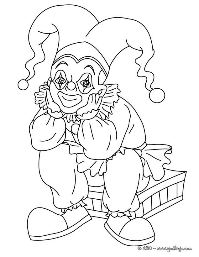 Dibujo para colorear : Bufón y su maleta de trucos