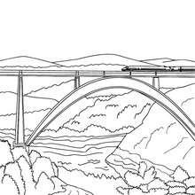 Dibujo para colorear : TREN cruzando un puente