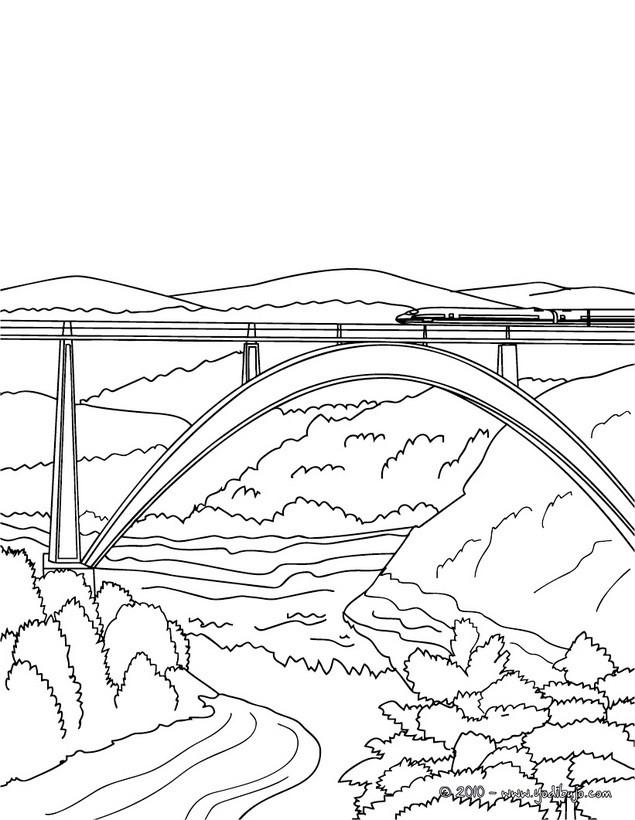 Dibujos para colorear tren cruzando un puente - es.hellokids.com