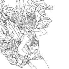 Dibujo para colorear traje de plumas carnaval de Rio - Dibujos para Colorear y Pintar - Dibujos para colorear FIESTAS - Dibujos para colorear CARNAVAL - Dibujos para colorear CARNAVAL DE RIO