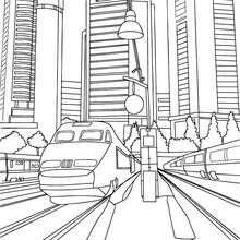 Dibujo para colorear : TREN AVE en la estación