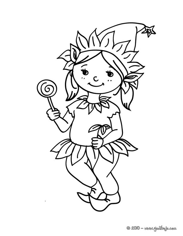 Dibujo para colorear : Traje de Elfo