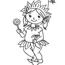 Dibujo para colorear DISFRAZ ELFO - Dibujos para Colorear y Pintar - Dibujos para colorear FIESTAS - Dibujos para colorear CARNAVAL - Dibujos DISFRACES CARNAVAL para colorear - Dibujos DISFRAZ NIÑA para colorear