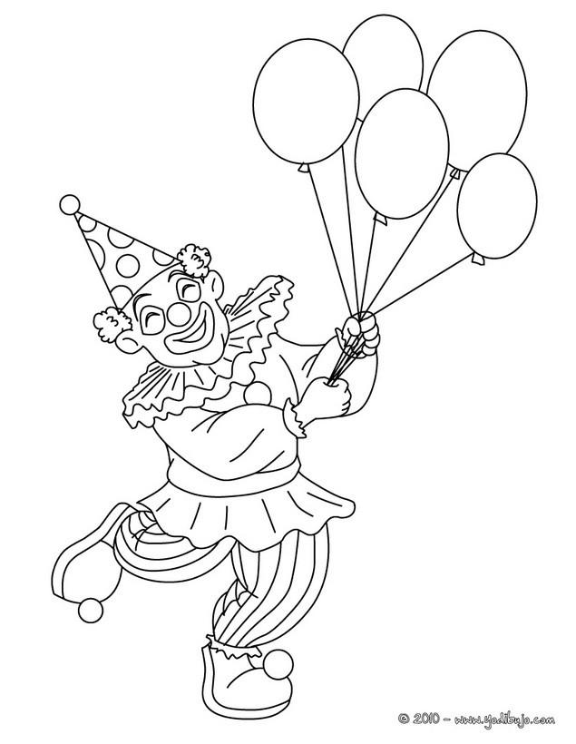 Dibujo para colorear : PAYASO con globos