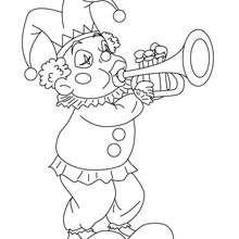 Dibujo para colorear : Bufón que toca la trompeta