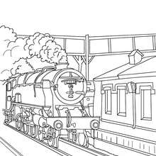 Dibujo para colorear : antiguo TREN entrando en la estación