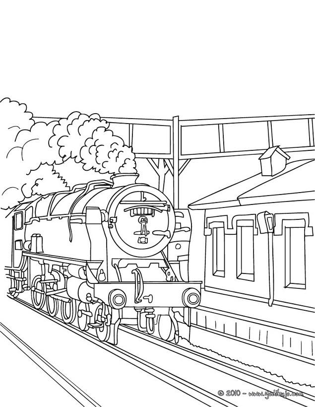 Dibujos para colorear estacion de tren - es.hellokids.com