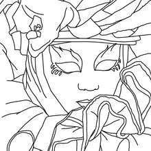Dibujo para colorear : Careta y Toca de seda