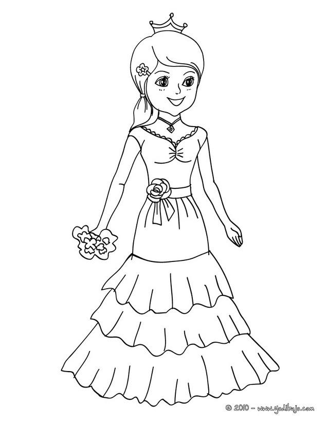 Dibujos de DISFRACES para colorear - Vestido de Flamenquera