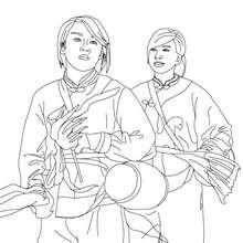 Dibujo para colorear musicos carnaval chino - Dibujos para Colorear y Pintar - Dibujos para colorear FIESTAS - Dibujos para colorear CARNAVAL - Dibujo para colorear CARNAVAL CHINO
