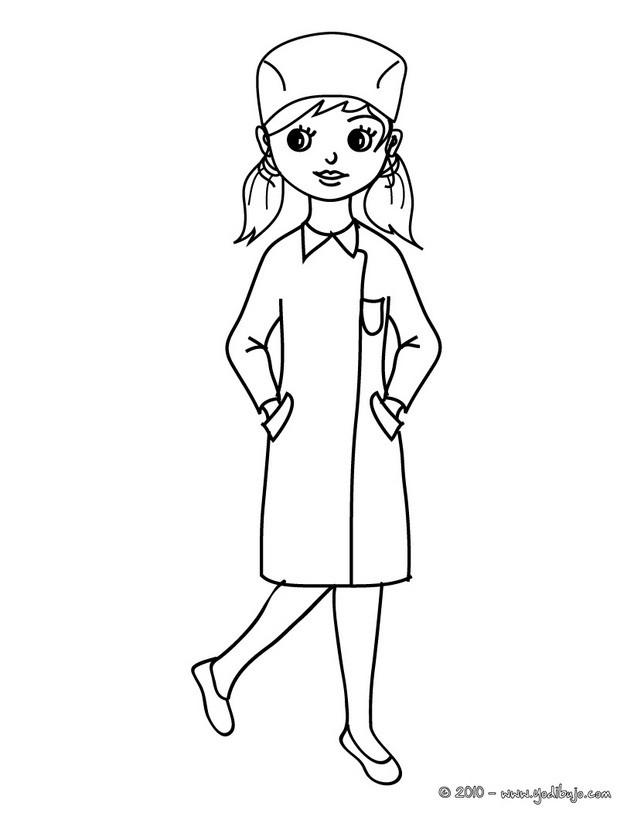 Dibujo para colorear DISFRAZ ENFERMERA - Dibujos DISFRAZ NIÑA para ...