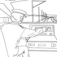 Dibujo para colorear CONDUCTOR DEL TREN AVE - Dibujos para Colorear y Pintar - Dibujos para colorear MEDIOS DE TRANSPORTE - Dibujos para colorear los TRENES - Dibujos del TREN AVE para colorear