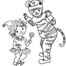 Dibujo para colorear : Elfo y Tigre