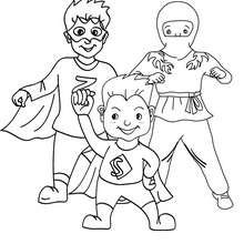 Dibujo para colorear niños disfrazados superheroes y ninja - Dibujos para Colorear y Pintar - Dibujos para colorear FIESTAS - Dibujos para colorear CARNAVAL - Dibujos DISFRACES CARNAVAL para colorear - Dibujos FIESTA DISFRAZADA para colorear