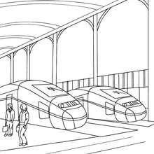 Dibujo para colorear : dos TRENES AVE estacionados
