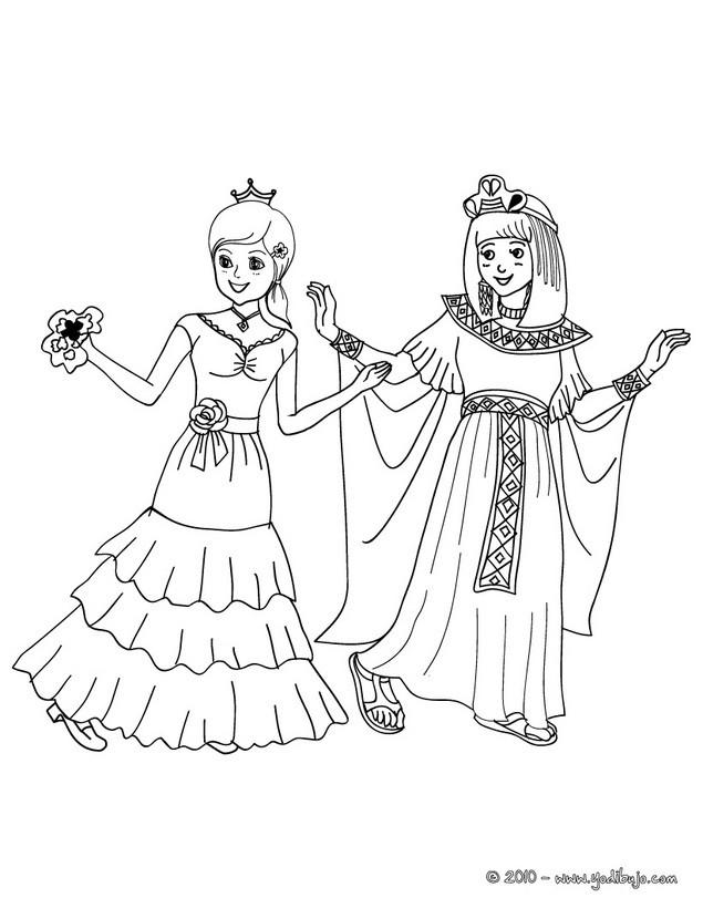 Dibujos para colorear princesa española y cleopatra - es.hellokids.com