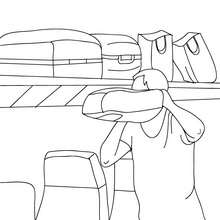 Dibujo para colorear : PASAJERO DEL TREN guardando su equipaje