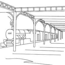 Dibujo para colorear TREN DE VAPOR estacionado - Dibujos para Colorear y Pintar - Dibujos para colorear MEDIOS DE TRANSPORTE - Dibujos para colorear los TRENES - Dibujos LOCOMOTORA DE VAPOR para colorear
