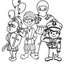 Dibujo para colorear : Jinete, Pirata, Policía y Ninja