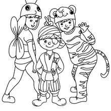 Dibujo para colorear niños disfrazados - Dibujos para Colorear y Pintar - Dibujos para colorear FIESTAS - Dibujos para colorear CARNAVAL - Dibujos DISFRACES CARNAVAL para colorear - Dibujos FIESTA DISFRAZADA para colorear