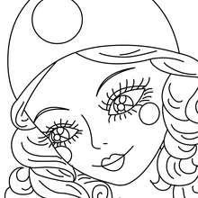 Dibujo para colorear retrato de COLOMBINA - Dibujos para Colorear y Pintar - Dibujos para colorear FIESTAS - Dibujos para colorear CARNAVAL - Dibujos PERSONAJES CARNAVAL para colorear