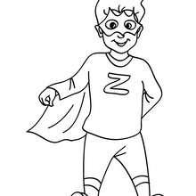 Dibujo para colorear DISFRAZ SUPERHEROE - Dibujos para Colorear y Pintar - Dibujos para colorear FIESTAS - Dibujos para colorear CARNAVAL - Dibujos DISFRACES CARNAVAL para colorear - Dibujos DISFRAZ NIÑO para colorear