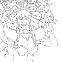 Dibujo para colorear peinado de plumas carnaval de Rio - Dibujos para Colorear y Pintar - Dibujos para colorear FIESTAS - Dibujos para colorear CARNAVAL - Dibujos para colorear CARNAVAL DE RIO