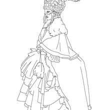 Dibujo para colorear : Disfraz de mujer con antifaces