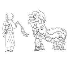 Dibujo para colorear : Desfile del Dragón