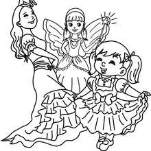 Dibujo para colorear carnaval con niñas disfrazadas - Dibujos para Colorear y Pintar - Dibujos para colorear FIESTAS - Dibujos para colorear CARNAVAL - Dibujos DISFRACES CARNAVAL para colorear - Dibujos FIESTA DISFRAZADA para colorear
