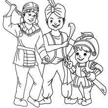 Dibujo para colorear disfraces de carnaval caballero, ninja y fakir - Dibujos para Colorear y Pintar - Dibujos para colorear FIESTAS - Dibujos para colorear CARNAVAL - Dibujos DISFRACES CARNAVAL para colorear - Dibujos FIESTA DISFRAZADA para colorear