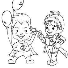 Dibujo de caballero y superheroe para fiesta de carnaval - Dibujos para Colorear y Pintar - Dibujos para colorear FIESTAS - Dibujos para colorear CARNAVAL - Dibujos DISFRACES CARNAVAL para colorear - Dibujos FIESTA DISFRAZADA para colorear