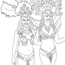 Dibujo para colorear mujeres carnaval de Rio - Dibujos para Colorear y Pintar - Dibujos para colorear FIESTAS - Dibujos para colorear CARNAVAL - Dibujos para colorear CARNAVAL DE RIO