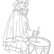 Dibujo para colorear : Tambor y Disfraz típico