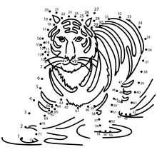 TIGRE unir puntos - Juegos divertidos - Juegos de UNIR PUNTOS - Juegos de puntos ANIMALES