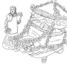 Dibujo para colorear : Carro de Flores