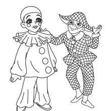 Dibujo para colorear : Arlequín y Pierrot